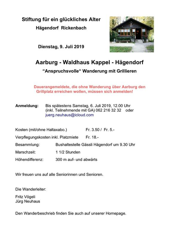 07.2019 Aarburg-Kappel-Hägendorf - STIFTUNG FÜR EIN